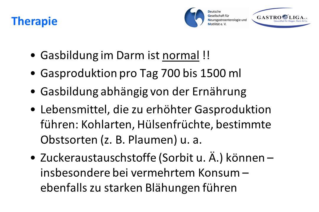 Blähungen Gasbildung im Darm ist normal !! Gasproduktion pro Tag 700 bis 1500 ml Gasbildung abhängig von der Ernährung Lebensmittel, die zu erhöhter G
