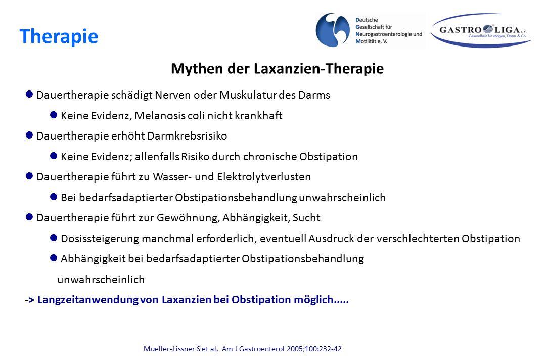 Mythen der Laxanzien-Therapie Dauertherapie schädigt Nerven oder Muskulatur des Darms Keine Evidenz, Melanosis coli nicht krankhaft Dauertherapie erhö