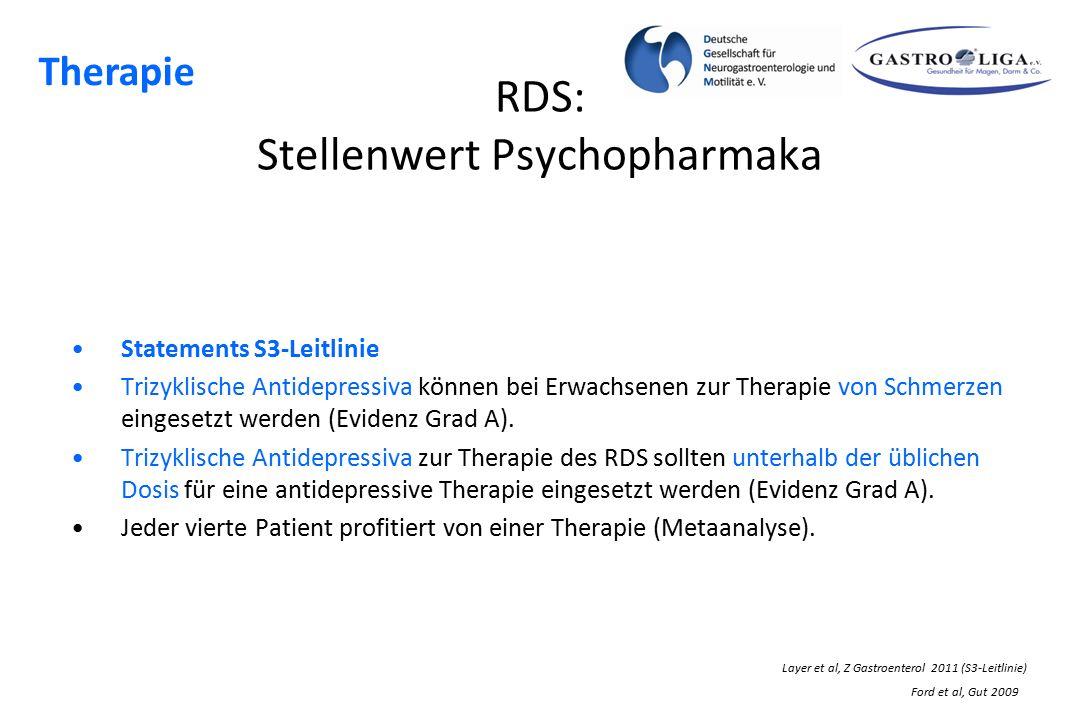 RDS: Stellenwert Psychopharmaka Statements S3-Leitlinie Trizyklische Antidepressiva können bei Erwachsenen zur Therapie von Schmerzen eingesetzt werde