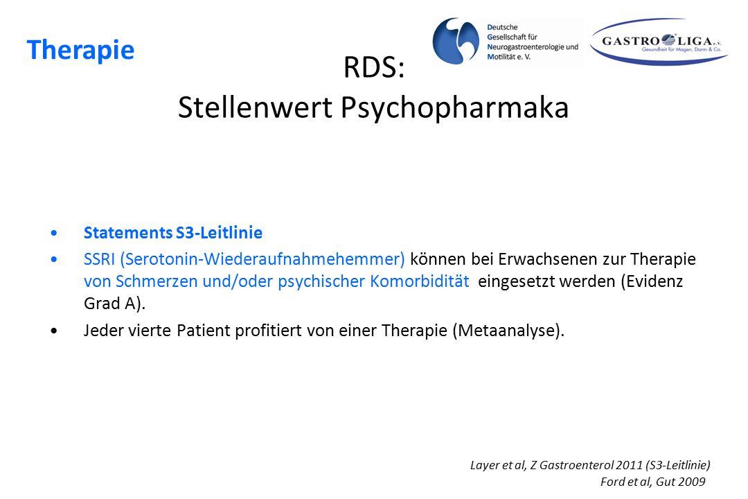 RDS: Stellenwert Psychopharmaka Statements S3-Leitlinie SSRI (Serotonin-Wiederaufnahmehemmer) können bei Erwachsenen zur Therapie von Schmerzen und/od