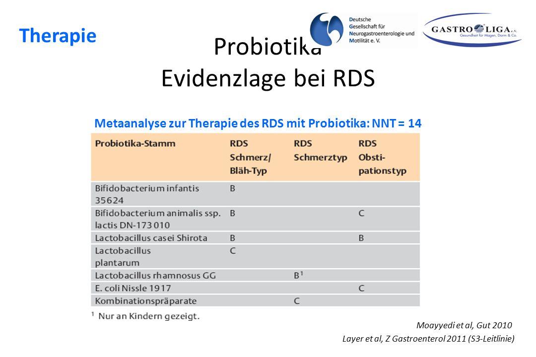 Probiotika Evidenzlage bei RDS Layer et al, Z Gastroenterol 2011 (S3-Leitlinie) Metaanalyse zur Therapie des RDS mit Probiotika: NNT = 14 Moayyedi et