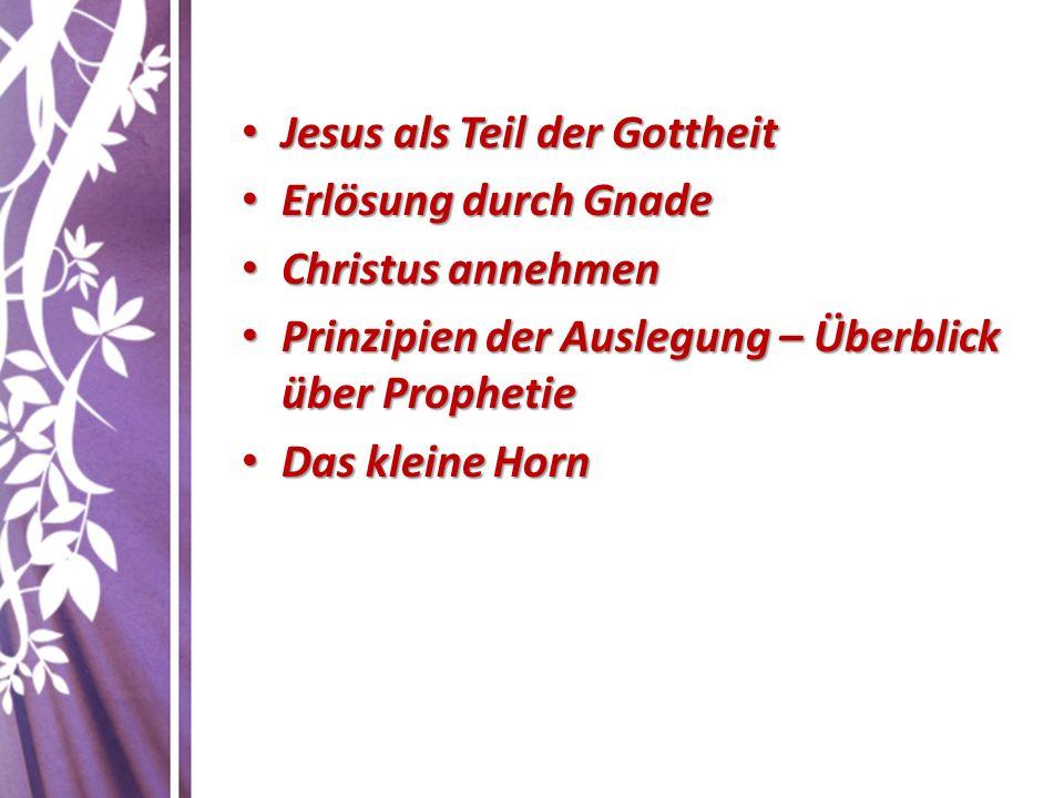 Jesus als Teil der Gottheit Jesus als Teil der Gottheit Erlösung durch Gnade Erlösung durch Gnade Christus annehmen Christus annehmen Prinzipien der A