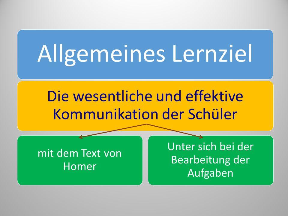 Allgemeines Lernziel Die wesentliche und effektive Kommunikation der Schüler mit dem Text von Homer Unter sich bei der Bearbeitung der Aufgaben