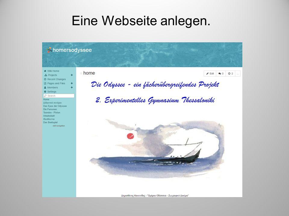 Eine Webseite anlegen.