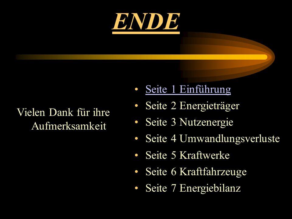 ENDE Vielen Dank für ihre Aufmerksamkeit Seite 1 Einführung Seite 2 Energieträger Seite 3 Nutzenergie Seite 4 Umwandlungsverluste Seite 5 Kraftwerke S