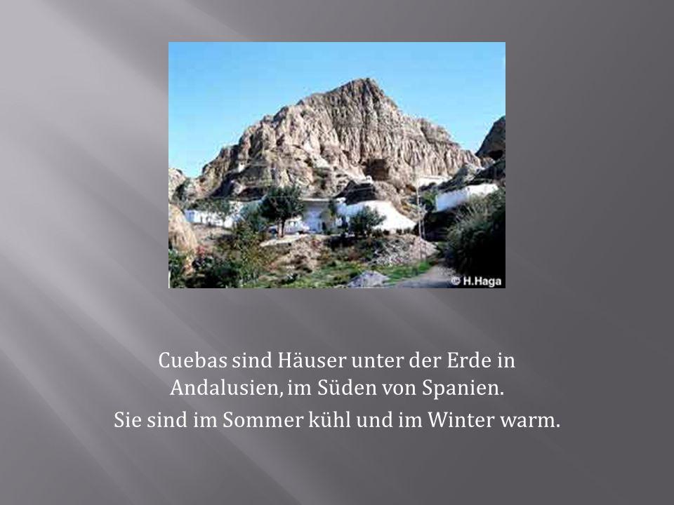 Cuebas sind Häuser unter der Erde in Andalusien, im Süden von Spanien. Sie sind im Sommer kühl und im Winter warm.