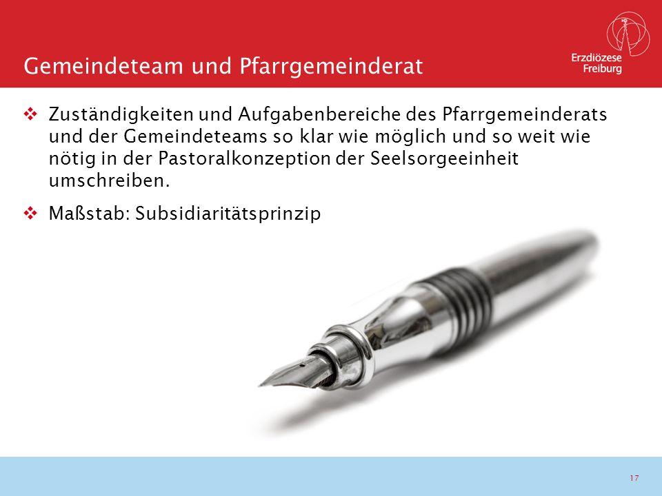 17  Zuständigkeiten und Aufgabenbereiche des Pfarrgemeinderats und der Gemeindeteams so klar wie möglich und so weit wie nötig in der Pastoralkonzept