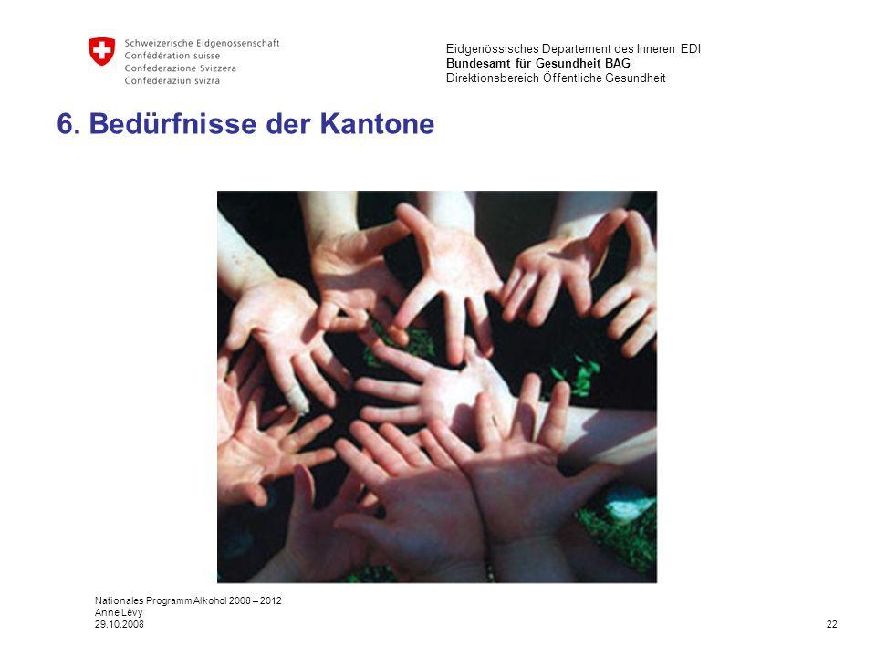 22 Eidgenössisches Departement des Inneren EDI Bundesamt für Gesundheit BAG Direktionsbereich Öffentliche Gesundheit Nationales Programm Alkohol 2008 – 2012 Anne Lévy 29.10.2008 6.