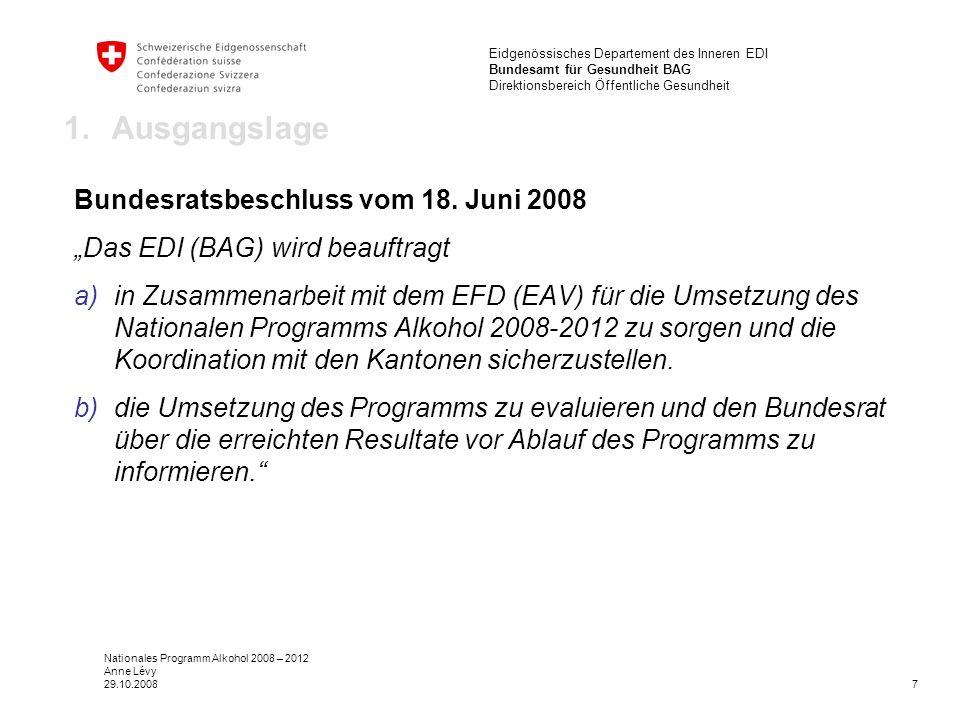7 Eidgenössisches Departement des Inneren EDI Bundesamt für Gesundheit BAG Direktionsbereich Öffentliche Gesundheit Nationales Programm Alkohol 2008 – 2012 Anne Lévy 29.10.2008 1.Ausgangslage Bundesratsbeschluss vom 18.