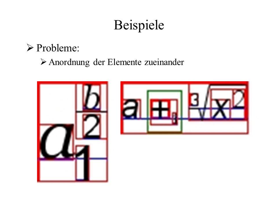 Beispiele  Probleme:  Anordnung der Elemente zueinander