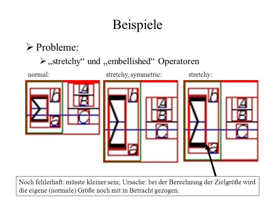 """Beispiele  Probleme:  """"stretchy und """"embellished Operatoren normal:stretchy, symmetric: stretchy: Noch fehlerhaft: müsste kleiner sein; Ursache: bei der Berechnung der Zielgröße wird die eigene (normale) Größe noch mit in Betracht gezogen."""