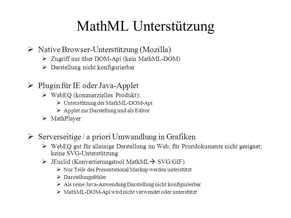 MathML Unterstützung  Native Browser-Unterstützung (Mozilla)  Zugriff nur über DOM-Api (kein MathML-DOM)  Darstellung nicht konfigurierbar  Plugin für IE oder Java-Applet  WebEQ (kommerzielles Produkt):  Unterstützung der MathML-DOM-Api  Applet zur Darstellung und als Editor  MathPlayer  Serverseitige / a priori Umwandlung in Grafiken  WebEQ gut für alleinige Darstellung im Web, für Printdokumente nicht geeignet; keine SVG-Unterstützung  JEuclid (Konvertierungstool MathML  SVG/GIF)  Nur Teile des Presentational Markup werden unterstützt  Darstellungsfehler  Als reine Java-Anwendung Darstellung nicht konfigurierbar  MathML-DOM-Api wird nicht verwendet oder unterstützt