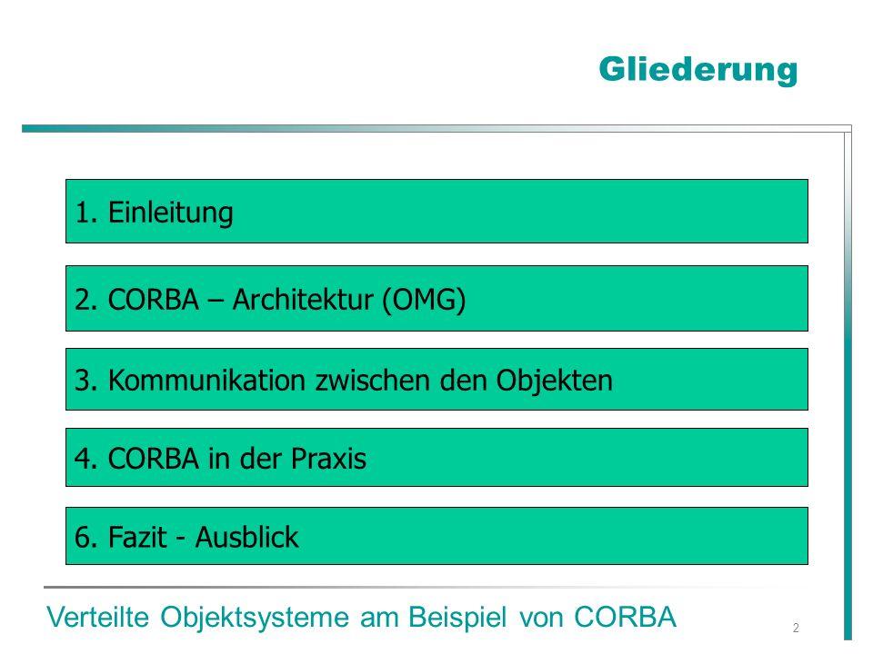 2 Gliederung Verteilte Objektsysteme am Beispiel von CORBA 3.