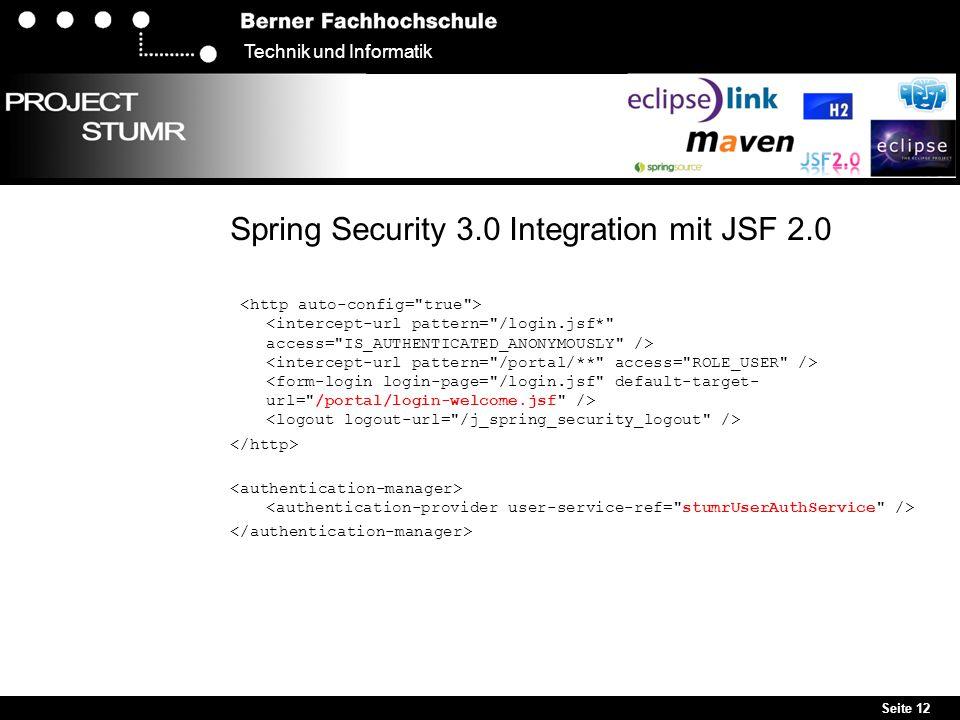 Seite 12 Technik und Informatik Spring Security 3.0 Integration mit JSF 2.0