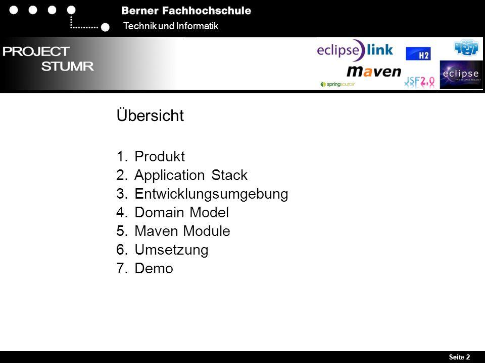 Seite 2 Technik und Informatik Übersicht 1. Produkt 2. Application Stack 3. Entwicklungsumgebung 4. Domain Model 5. Maven Module 6. Umsetzung 7. Demo