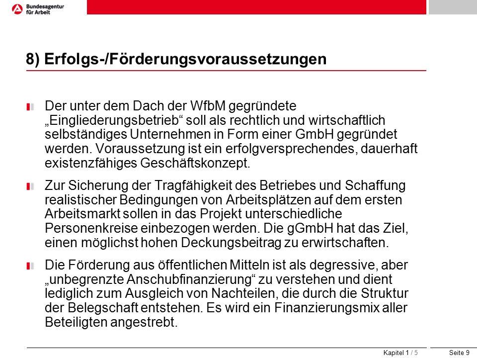 """Seite 9 8) Erfolgs-/Förderungsvoraussetzungen Der unter dem Dach der WfbM gegründete """"Eingliederungsbetrieb soll als rechtlich und wirtschaftlich selbständiges Unternehmen in Form einer GmbH gegründet werden."""
