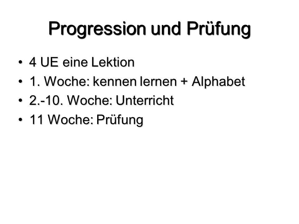 Progression und Prüfung 4 UE eine Lektion4 UE eine Lektion 1.
