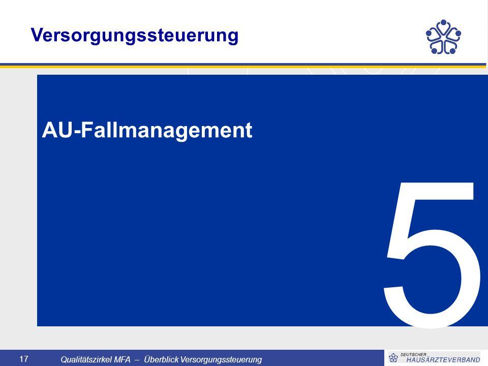 Qualitätszirkel MFA – Überblick Versorgungssteuerung 17 5 AU-Fallmanagement Versorgungssteuerung