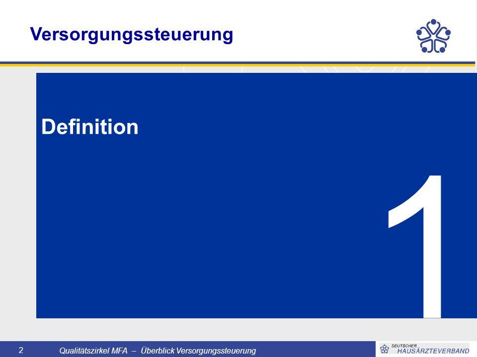 Qualitätszirkel MFA – Überblick Versorgungssteuerung 2 1 Definition Versorgungssteuerung
