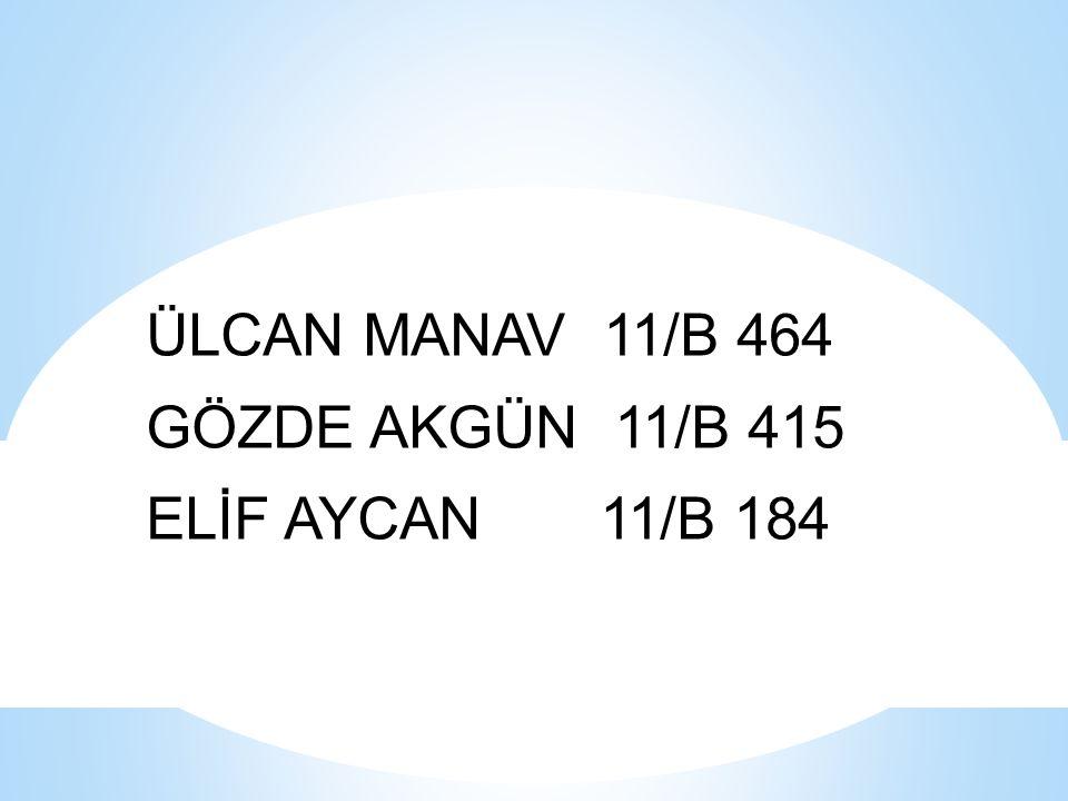ÜLCAN MANAV 11/B 464 GÖZDE AKGÜN 11/B 415 ELİF AYCAN 11/B 184