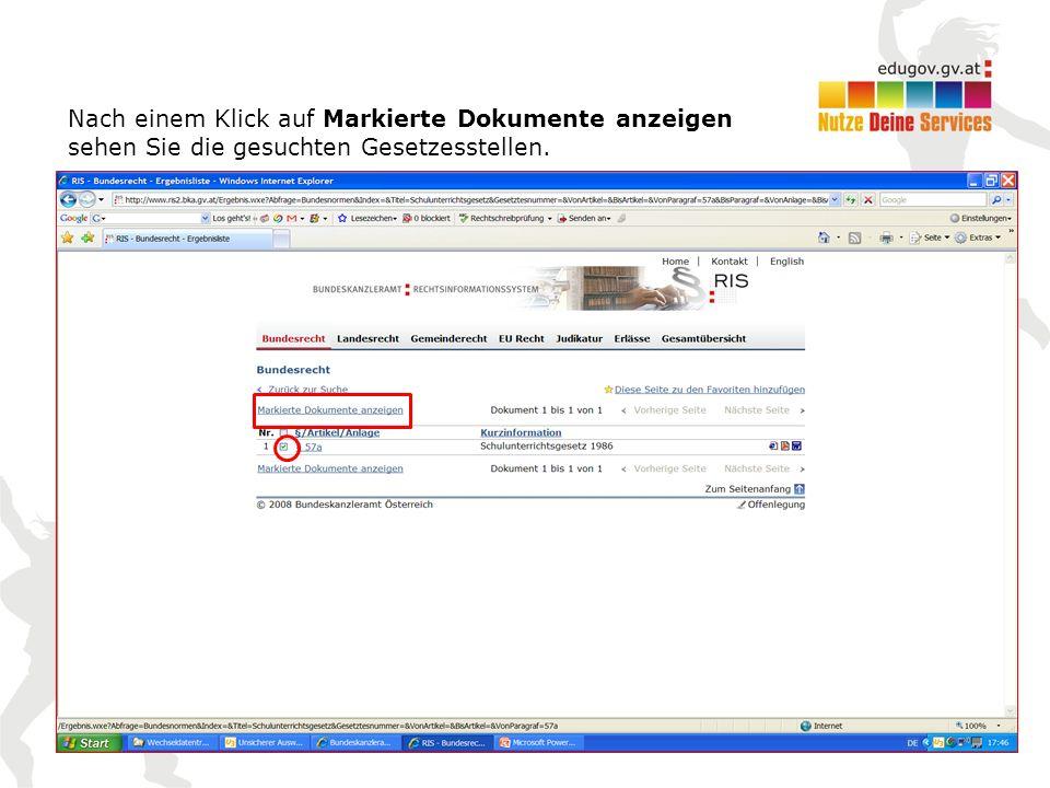 Nach einem Klick auf Markierte Dokumente anzeigen sehen Sie die gesuchten Gesetzesstellen.