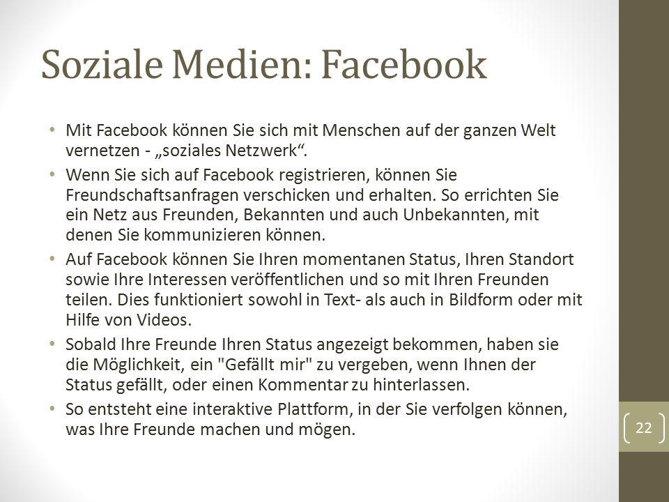 """Soziale Medien: Facebook Mit Facebook können Sie sich mit Menschen auf der ganzen Welt vernetzen - """"soziales Netzwerk"""". Wenn Sie sich auf Facebook reg"""