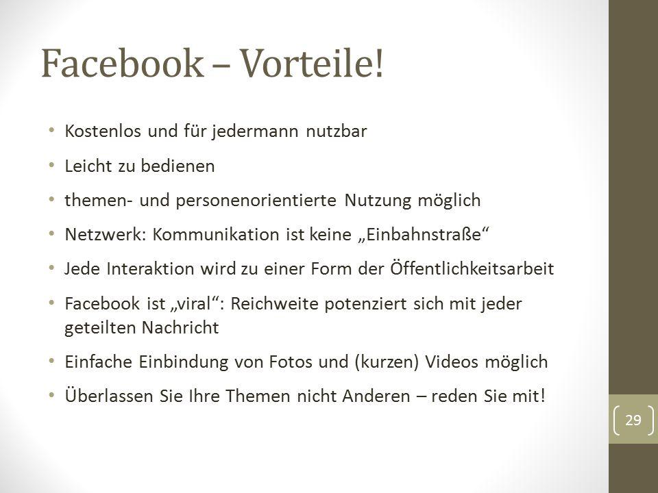 Facebook – Vorteile.