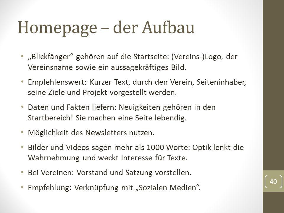 """Homepage – der Aufbau """"Blickfänger gehören auf die Startseite: (Vereins-)Logo, der Vereinsname sowie ein aussagekräftiges Bild."""