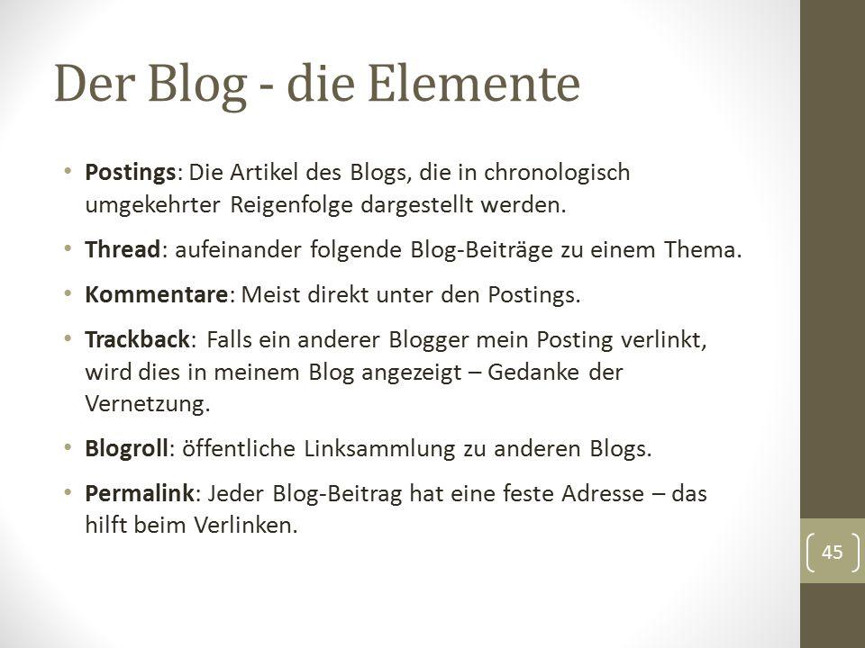 Der Blog - die Elemente Postings: Die Artikel des Blogs, die in chronologisch umgekehrter Reigenfolge dargestellt werden. Thread: aufeinander folgende