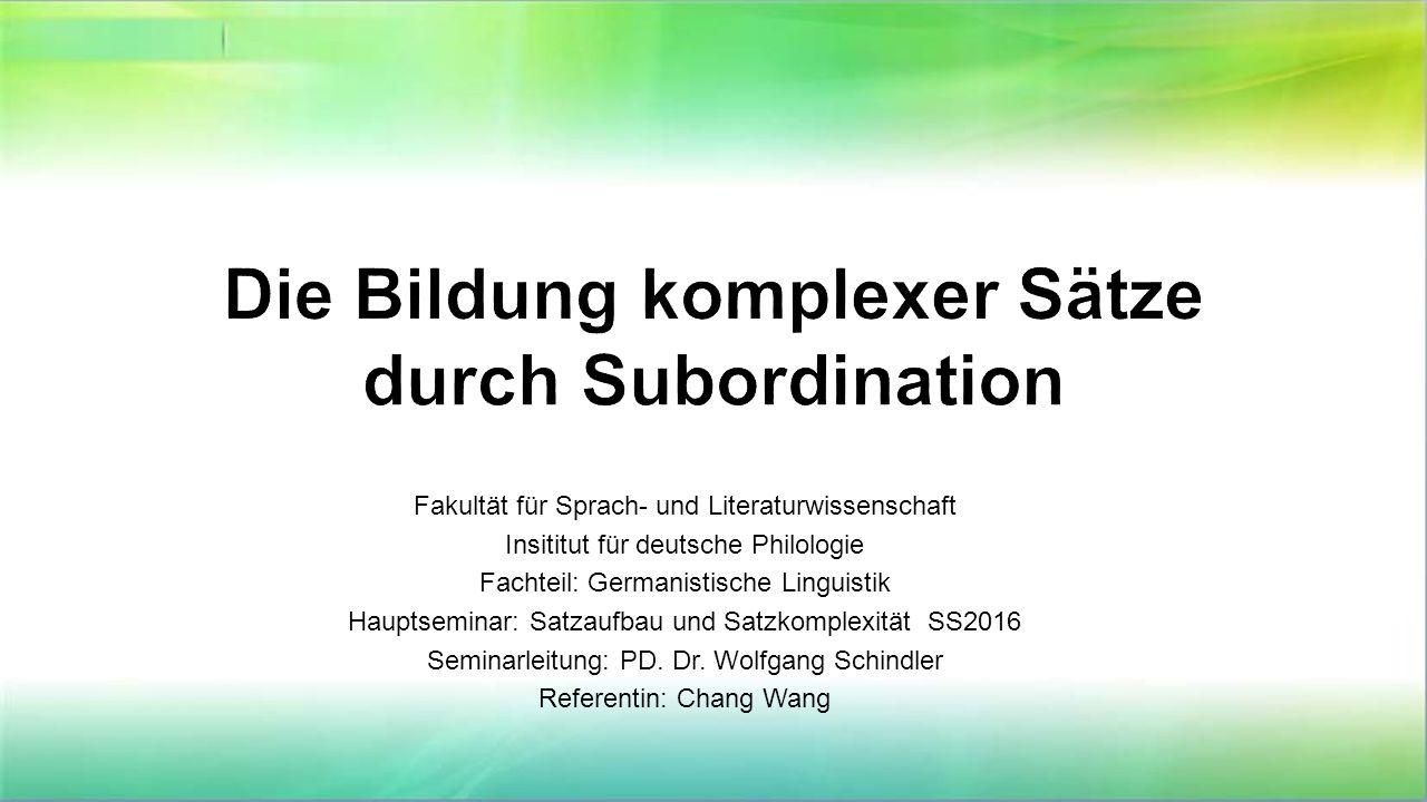 Fakultät für Sprach- und Literaturwissenschaft Insititut für deutsche Philologie Fachteil: Germanistische Linguistik Hauptseminar: Satzaufbau und Satz