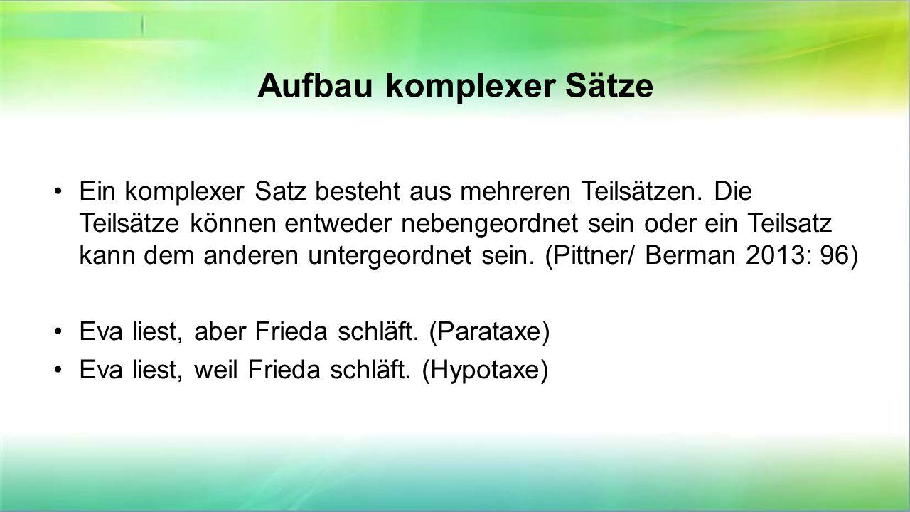 """Bei einer Hypotaxe ist """"ein Teilsatz dem anderen untergeordnet (subordiniert)."""