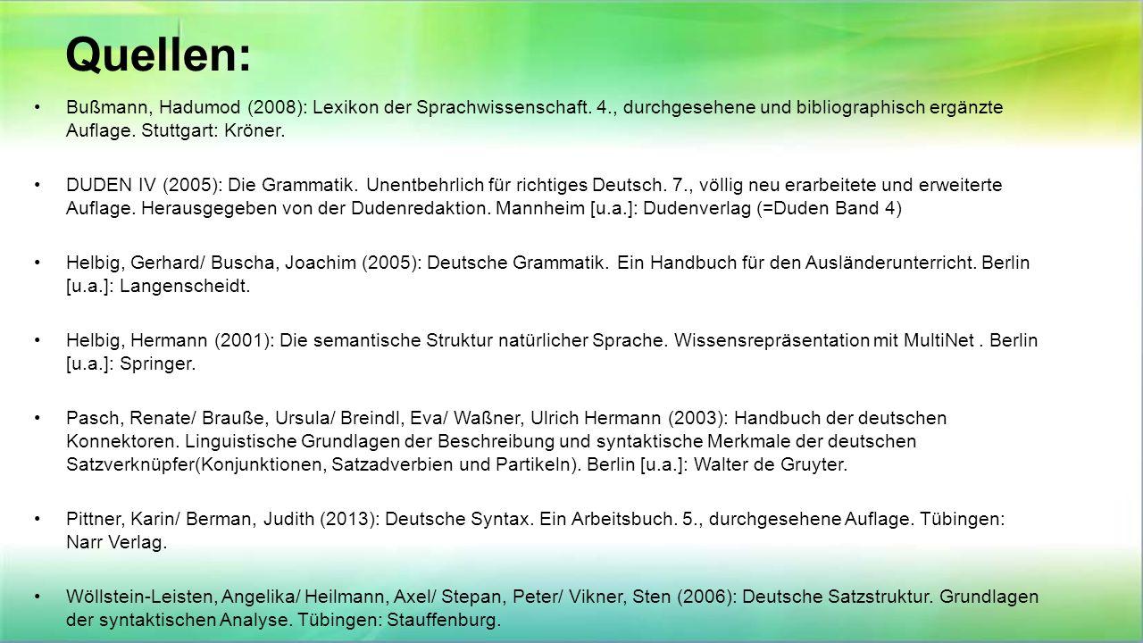 Quellen: Bußmann, Hadumod (2008): Lexikon der Sprachwissenschaft. 4., durchgesehene und bibliographisch ergänzte Auflage. Stuttgart: Kröner. DUDEN IV