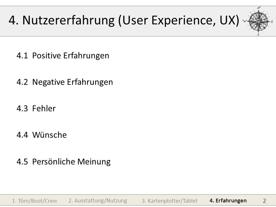 1. Törn/Boot/Crew3. Kartenplotter/Tablet 4. Erfahrungen 2. Ausstattung/Nutzung 4. Nutzererfahrung (User Experience, UX) 4.1Positive Erfahrungen 4.2Neg