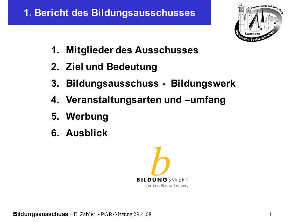 Bildungsausschuss – E. Zabler - PGR-Sitzung 29.4.08 1 1.
