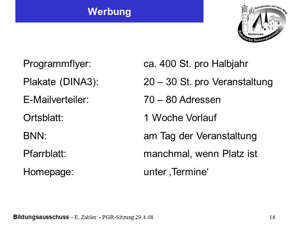Bildungsausschuss – E. Zabler - PGR-Sitzung 29.4.08 16 Werbung Programmflyer:ca.