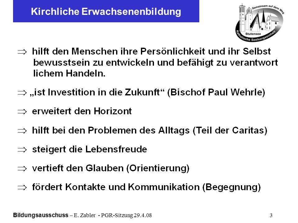 Bildungsausschuss – E. Zabler - PGR-Sitzung 29.4.08 3 Kirchliche Erwachsenenbildung