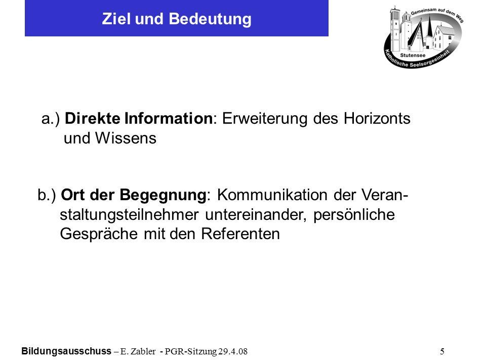 Bildungsausschuss – E.Zabler - PGR-Sitzung 29.4.08 16 Werbung Programmflyer:ca.