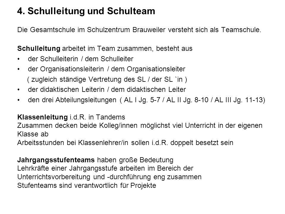 4. Schulleitung und Schulteam Die Gesamtschule im Schulzentrum Brauweiler versteht sich als Teamschule. Schulleitung arbeitet im Team zusammen, besteh