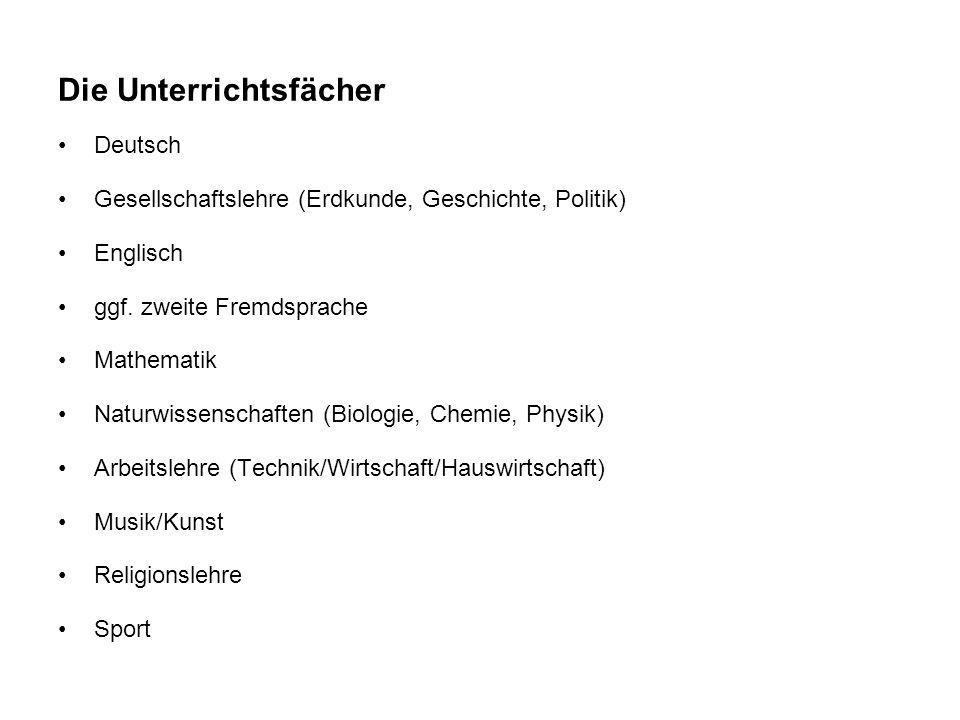 Die Unterrichtsfächer Deutsch Gesellschaftslehre (Erdkunde, Geschichte, Politik) Englisch ggf.