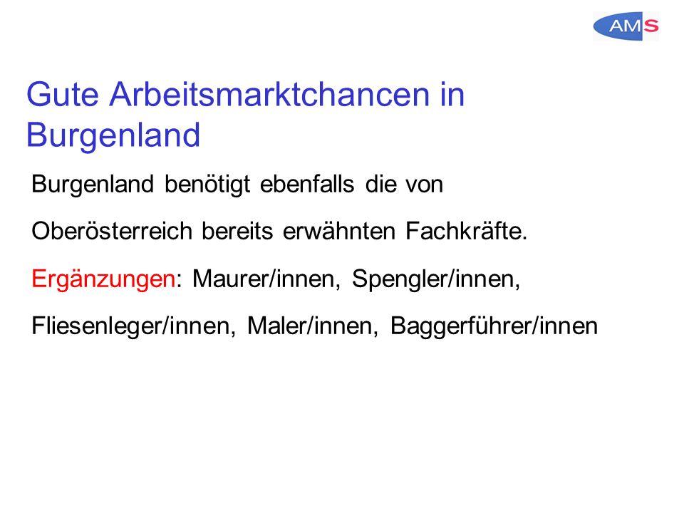 Gute Arbeitsmarktchancen in Burgenland Burgenland benötigt ebenfalls die von Oberösterreich bereits erwähnten Fachkräfte.