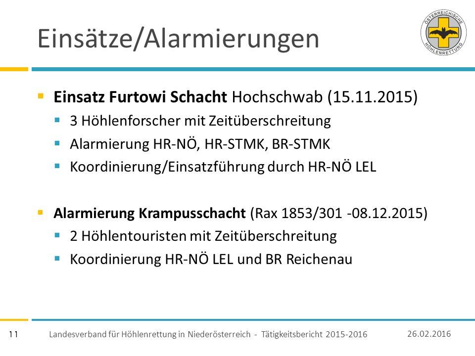 11 Einsätze/Alarmierungen  Einsatz Furtowi Schacht Hochschwab (15.11.2015)  3 Höhlenforscher mit Zeitüberschreitung  Alarmierung HR-NÖ, HR-STMK, BR-STMK  Koordinierung/Einsatzführung durch HR-NÖ LEL  Alarmierung Krampusschacht (Rax 1853/301 -08.12.2015)  2 Höhlentouristen mit Zeitüberschreitung  Koordinierung HR-NÖ LEL und BR Reichenau 26.02.2016 Landesverband für Höhlenrettung in Niederösterreich - Tätigkeitsbericht 2015-2016