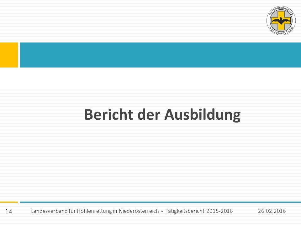 14 Bericht der Ausbildung 26.02.2016Landesverband für Höhlenrettung in Niederösterreich - Tätigkeitsbericht 2015-2016