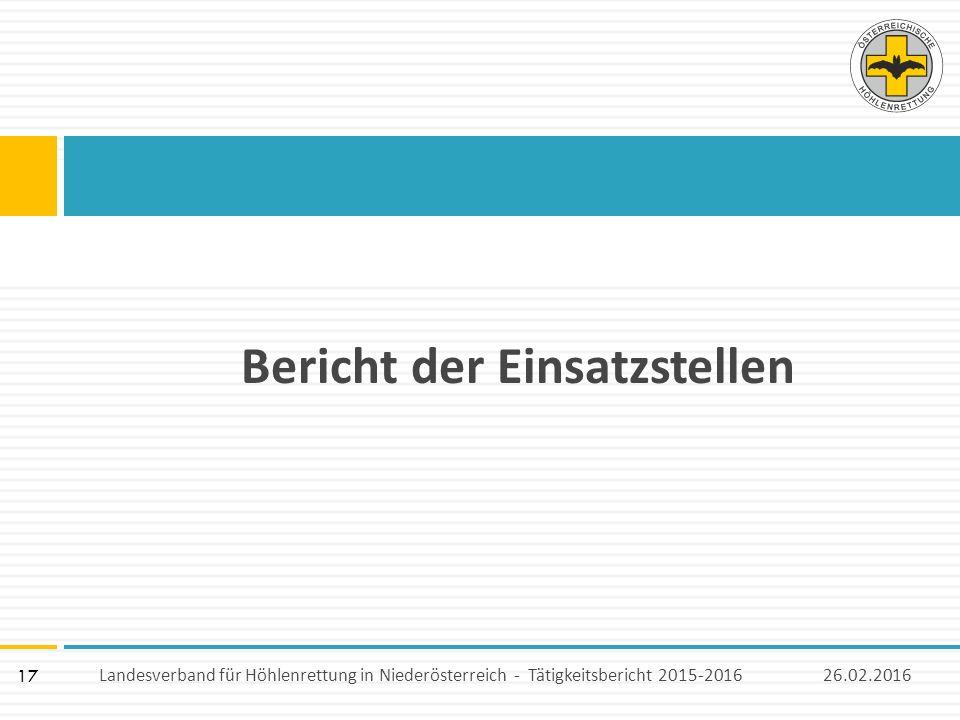 17 Bericht der Einsatzstellen 26.02.2016Landesverband für Höhlenrettung in Niederösterreich - Tätigkeitsbericht 2015-2016