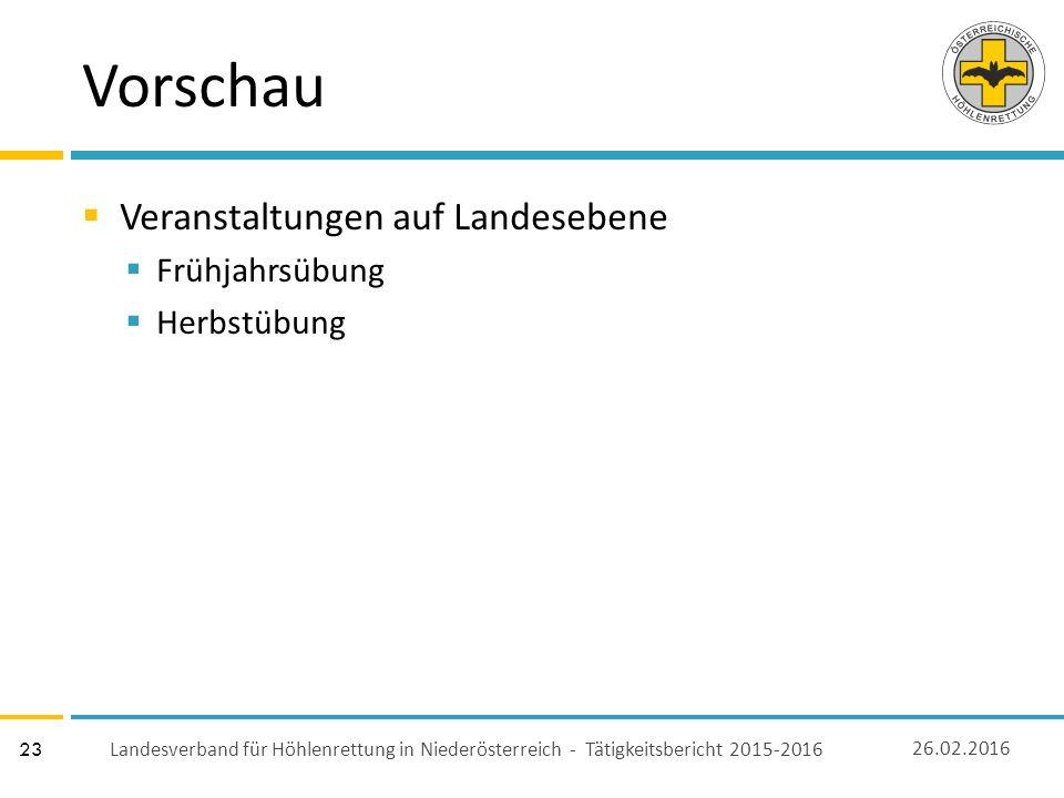 23 Vorschau  Veranstaltungen auf Landesebene  Frühjahrsübung  Herbstübung 26.02.2016 Landesverband für Höhlenrettung in Niederösterreich - Tätigkeitsbericht 2015-2016