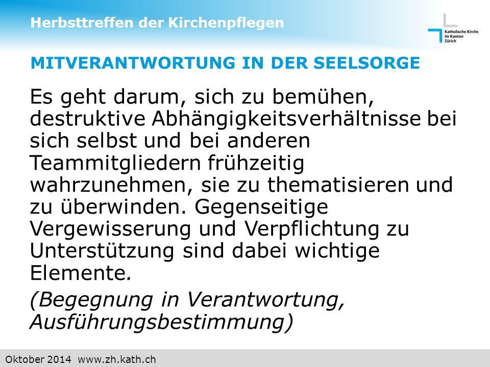 Oktober 2014 www.zh.kath.ch MITVERANTWORTUNG IN DER SEELSORGE  2.