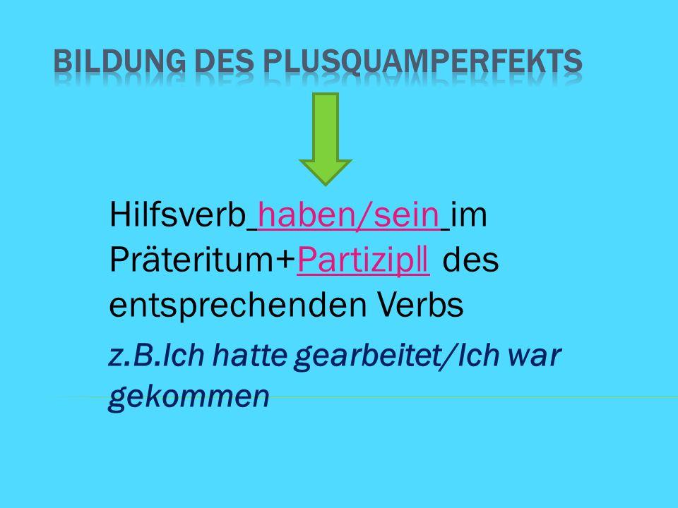 Hilfsverb haben/sein im Präteritum+Partizip ǁ des entsprechenden Verbs z.B.Ich hatte gearbeitet/Ich war gekommen