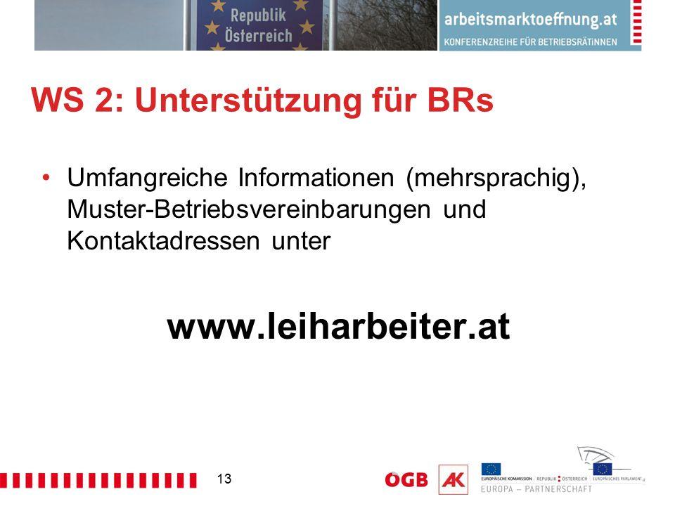 13 WS 2: Unterstützung für BRs Umfangreiche Informationen (mehrsprachig), Muster-Betriebsvereinbarungen und Kontaktadressen unter www.leiharbeiter.at