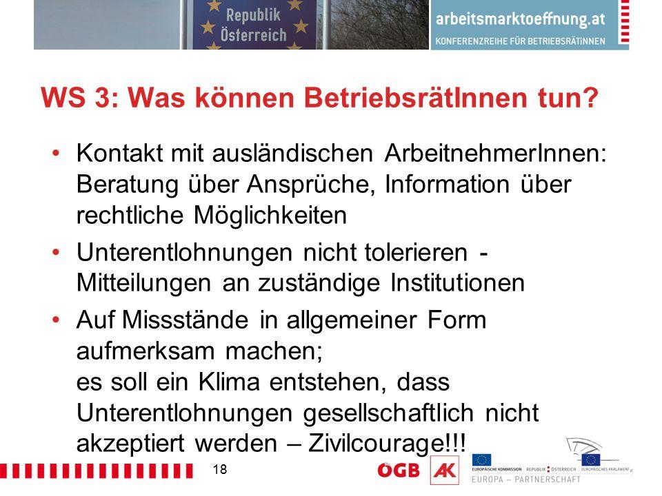 18 WS 3: Was können BetriebsrätInnen tun? Kontakt mit ausländischen ArbeitnehmerInnen: Beratung über Ansprüche, Information über rechtliche Möglichkei