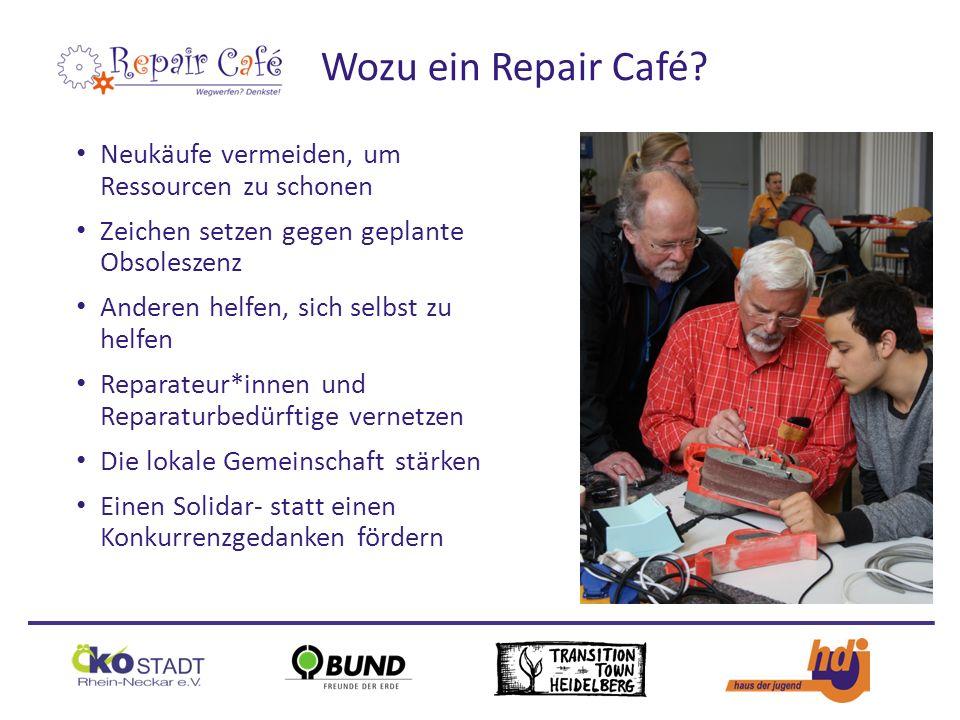 Neukäufe vermeiden, um Ressourcen zu schonen Zeichen setzen gegen geplante Obsoleszenz Anderen helfen, sich selbst zu helfen Reparateur*innen und Reparaturbedürftige vernetzen Die lokale Gemeinschaft stärken Einen Solidar- statt einen Konkurrenzgedanken fördern Wozu ein Repair Café