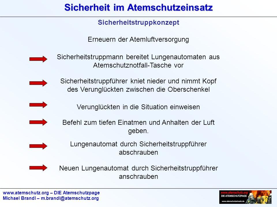 Sicherheit im Atemschutzeinsatz www.atemschutz.org – DIE Atemschutzpage Michael Brandl – m.brandl@atemschutz.org Sicherheitstruppkonzept Erneuern der